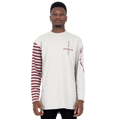 [SAINT SHOW] HALF STRIPE LONG SLEEVE T-SHIRT - ECRU/BURGUNDY