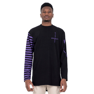 [SAINT SHOW] HALF STRIPE LONG SLEEVE T-SHIRT - OFF BLACK/INDIGO