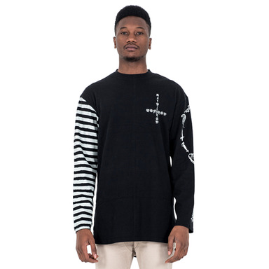 [SAINT SHOW] HALF STRIPE LONG SLEEVE T-SHIRT - OFF BLACK/TONER GRAY