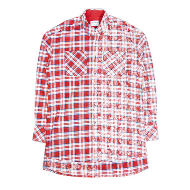 [SAINT SHOW] HALF FADED FLANNEL SHIRT - RED