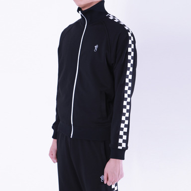 [THANKS FATHER] 2 TONE TRACK JACKET (BLACK)