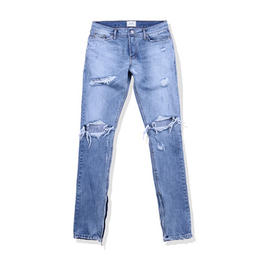 [END/AND] ESSENTIAL END DISTRESSED DENIM ZIP (MEDIUM BLUE)