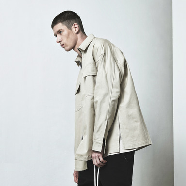 [D.PRIQUE] OVERSIZED ZIP SHIRT / LIGHT BEIGE