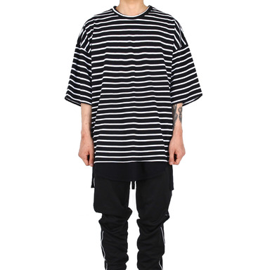 [XSACKY] OVERFIT STRIPE T-SHIRT BLACK