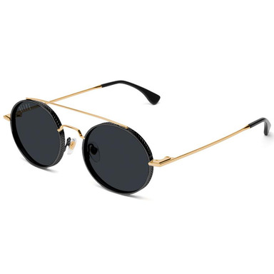 [쿠드그라스 연말 FINAL SALE] [9FIVE] 50-50 BLACK & 24K GOLD ROUND SUNGLASSES