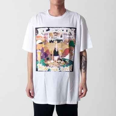 [쿠드그라스 연말 FINAL SALE] [VINTAGE WEAR LA] FLEXIN TEE (WHITE)