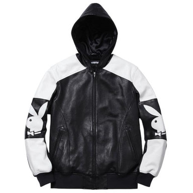 [SUPREME] HOODED PLAYBOY LEATHER JACKET (BLACK)