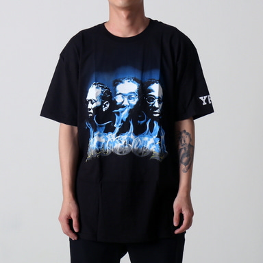 [$ SHOP SALE] [YRN] BLUE FACES TEE (BLACK)
