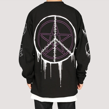 [FION] SEW CIRCLE LONG SLEEVE T-SHIRTS BLACK