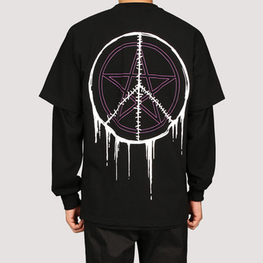 [FION] SEW CIRCLE LONG T-SHIRTS BLACK