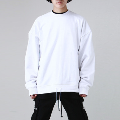 [TAKEASY] STRING OVER SWEAT SHIRTS (WHITE)