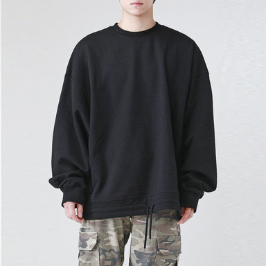 [TAKEASY] STRING OVER SWEAT SHIRTS (BLACK)