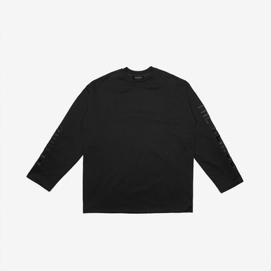 [DPRIQUE] SLOGAN LONG SLEEVE T-SHIRT - BLACK