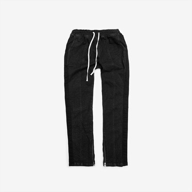 [DPRIQUE] WASHED TRACK DENIM PANTS - BLACK