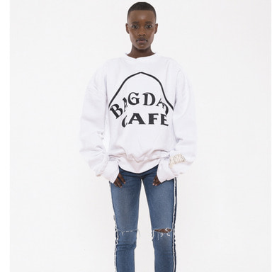[VAN CALLE CAMINOS] Calle bagdad cafe Tape sweatshirts (white)