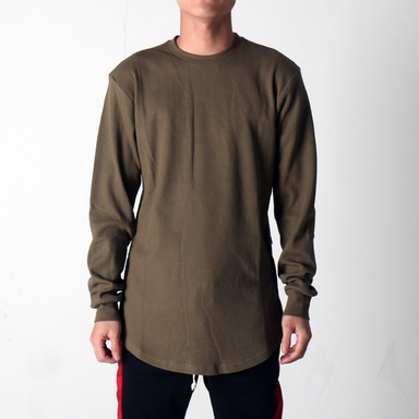 [$ SHOP SALE] [EPTM] SIDE ZIP THERMAL LONG TEE (OLIVE)