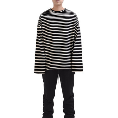 [RCNP] OVERSIZED STRIPE T-SHIRT (BLACK/CREAM)