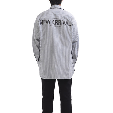 [RCNP] BACK PRINTED STRIPE SHIRT (NAVY)