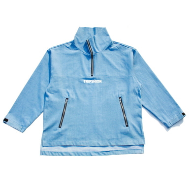 TRIPSHION HIGHNECK WASHING DENIM ANORAK JACKET