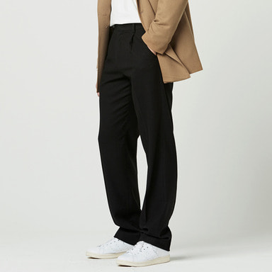 [NOVELLA] ONE-TUCK LONG SLIMS TROUSER BLACK