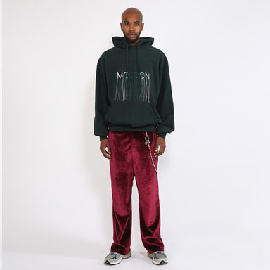 [SAINT SHOW] BELTED WIDE VELVET TROUSER · WINE