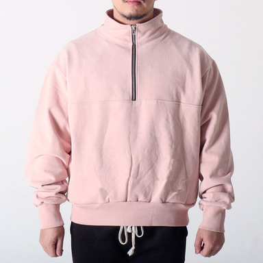 [COUPDEGRACE] WASHED COTTON ZIPPED TURTLENECK (PINK)