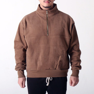 [COUPDEGRACE] WASHED COTTON ZIPPED TURTLENECK (BROWN)