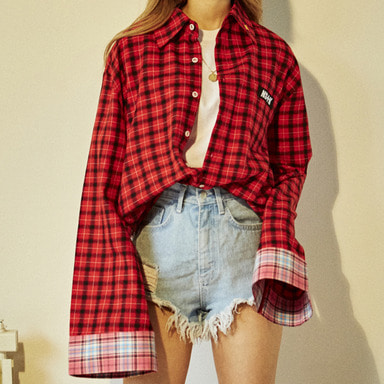 [2018 SPRING SEASON OFF] [NSTK] COLORING CHECK BOXY SHIRTS (RED)