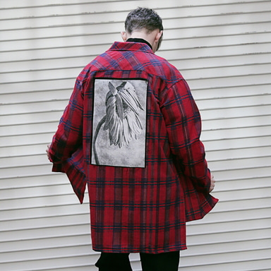 [MASSNOUN] CHRRYSANTHEMUM CHECK SIDE VENT LONG SHIRT MFVST002-RD