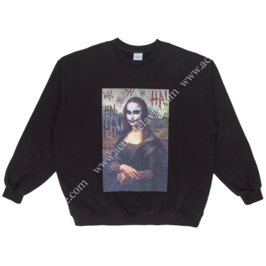 [ACME DE LA VIE] ADLV VINTAGE WASHING SWEAT T-SHIRT (BLACK) MONA LISA 빈티지 워싱 맨투맨 모나리자