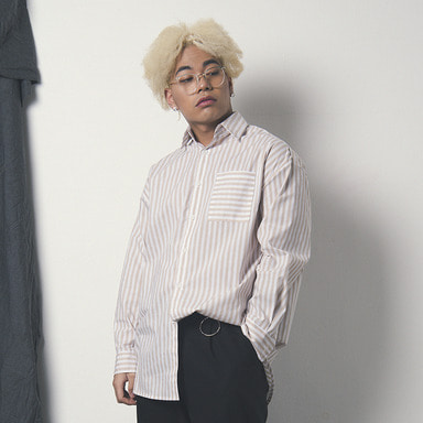 [WANTON] BASIC STRIPE SHIRTS BEIGE