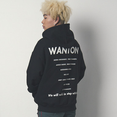 [WANTON] SLOGAN HOODY BLACK