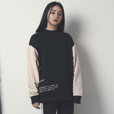 [WANTON] V POINT SWEATSHIRT BLACK