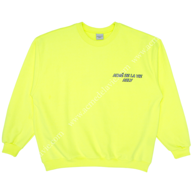 "[ACME DE LA VIE] ADLV SWEATSHIRTS ""I CAN'T TAKE IT"" NEON YELLOW 네온 옐로우 맨투맨"