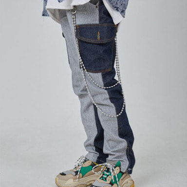 [INNOVANT] UNBALANCE CARGO DENIM PANTS (BLUE)