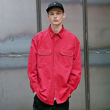 [4/6 예약발송] [MASSNOUN] STITCH LINE OVERSIZED SHIRTS MSEST002-RD