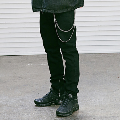[4/13 예약배송] [MASSNOUN] NOR SIDE ZIPPER BLACK DENIM MSEJP005-BK