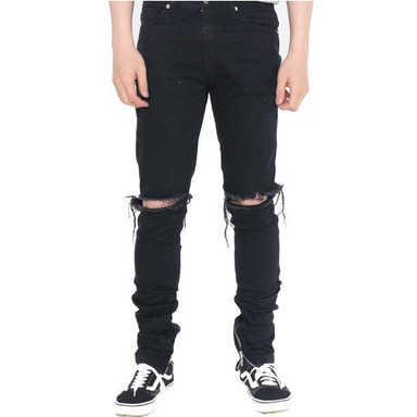 [60% OFF FINAL SALE] [FADE6] DESTROYED JEANS BLACK