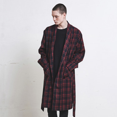 [SUMMER SALE 20% OFF] [DPRIQUE] CHECK ROBE COAT (RED)