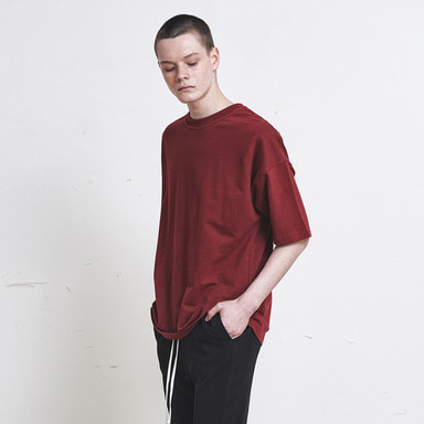 [신상발매기념 10% SALE] [DPRIQUE] OVERSIZED BASIC T-SHIRT (RED)