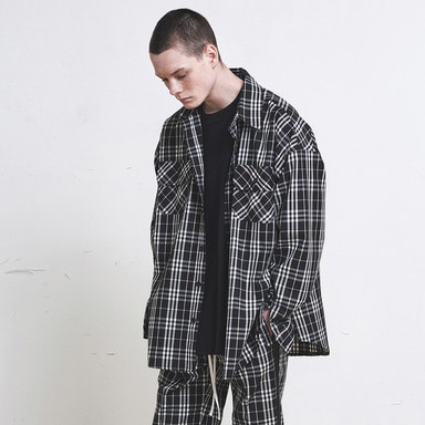 [SUMMER SALE 20% OFF] [DPRIQUE] OVERSIZED CHECK SHIRT (BLACK)