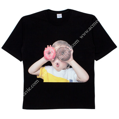[ACME DE LA VIE] ADLV BABY FACE SHORT SLEEVE T-SHIRT (BLACK) 베이비 페이스 반팔 블랙 도너츠