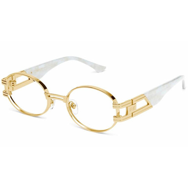[9FIVE] ST. JAMES MARBLE CROC & 24K GOLD CLEAR LENS GLASSES