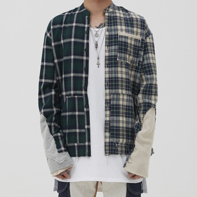 [9월 21일 예약발송] [INNOVANT] UNBALANCE CHECK SHIRT (GREEN)