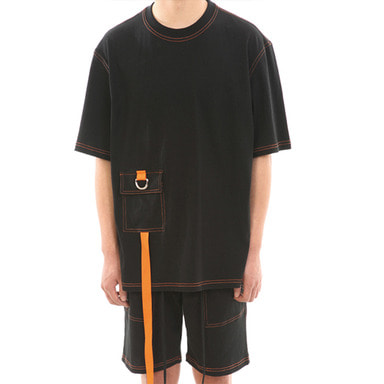 [LANG VERSIO] ORANGE STITCH 1/2 TEE (BLACK)