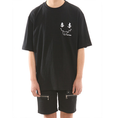 [SUMMER SALE 20% OFF] [LANG VERSIO] SMILE 1/2 TEE (BLACK)