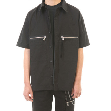 [LANG VERSIO] ZIPPER POCKET 1/2 SHIRT (BLACK)