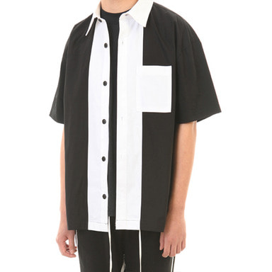 [LANG VERSIO] WHITE LINE 1/2 SHIRT (BLACK/WHITE)