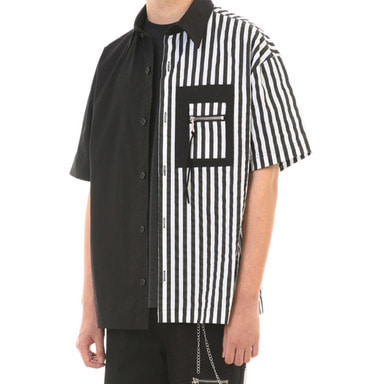 [SUMMER SALE 20% OFF] [LANG VERSIO] UNBALANCE 1/2 SHIRT (BLACK/STRIPE)