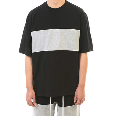 [SUMMER SALE 20% OFF] [LANG VERSIO] PIPING 1/2 TEE (BLACK/GRAY)